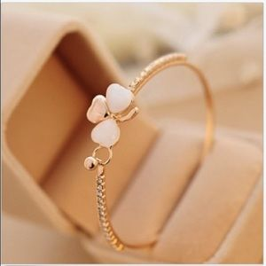 Clover Flower Crystals Gold Plated Cuff Bracelet